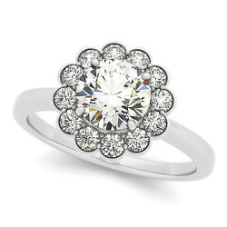 1.33 Ct Round Moissanite Forever One And Diamond Engagement Ring 50l833wg