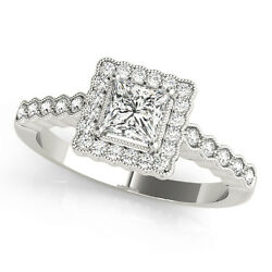 1.20 Ct Square Moissanite Forever One And Diamond Halo Engagement Ring 51l024wg