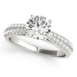 1.33 Ct Round Moissanite Forever One And Diamond Engagement Ring 50l651wg