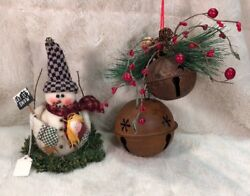 New 2 Pc Lot Of Country Christmas Decorations Snowman And Rustic Doorbells