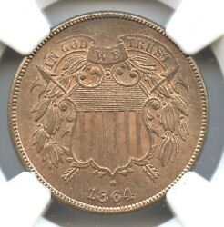 1864 Large Motto Shield Two Cents Ngc Ms66 Rb Cac Approved