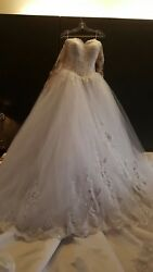 White Lace Wedding Dress / Size 12 To 14andnbsp