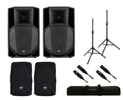 2x RCF ART 735-A MK4 Active Speaker + Covers + Stands + Bag + Mogami Cables