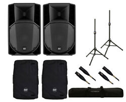 2x RCF ART 745-A MK4 Active Speaker + Covers + Stands + Bag + Mogami Cables