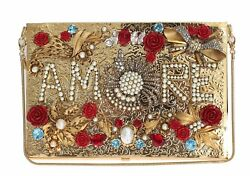 NEW $5800 DOLCE & GABBANA Bag Purse Gold Crystal AMORE Clutch Evening Party