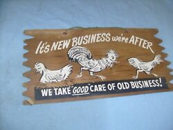 Vintage  CHICKENS Business  Decor novelty Sign - bar  barn or man cave  j6