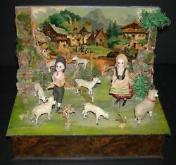 Zinner And Sohn - Music Box W/ Dancing Glass Eye Dolls And Animals And Background -