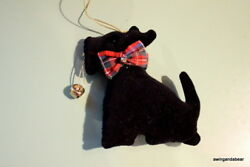 Handmade Scottie Scottish Terrier Fabric Ornament with Bell