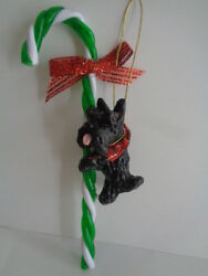 NEW~BLACK SCOTTIE SCOTTISH TERRIER & CANDY CANE CHRISTMAS ORNAMENT*****
