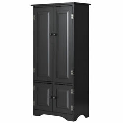 Accent Storage Cabinet Adjustable Shelves Antique 2 Door Floor Cabinet Black