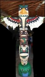 5 Ft EAGLE TOTEM POLE w ANIMAL FACES 5#x27; Wooden Sculpture Native Frank Gallagher $1490.00