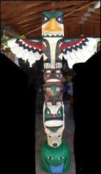 6 Ft EAGLE TOTEM POLE w ANIMAL FACES 6#x27; Wooden Sculpture by Frank Gallagher $1890.00