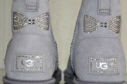 New Ugg Uggs Classic Mini Crystal Bow Low Boots Lilac Pale Purple 9 40