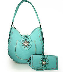 Trinity Ranch® Concealed Carry Tooled Leather Hobo + Wallet- Turquoise