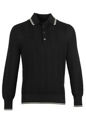 New Tom Ford Black Long Sleeve Polo Sweater Size 48 / 38r U.s. In Silk Blend...