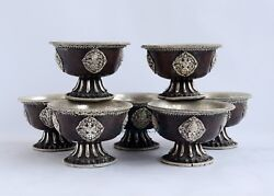 Silver Plated Finely Carved Oxidized Copper Alloy Tibetan 4 Offering Bowls Set