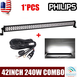 Philips 42inch 240w Combo Led Work Light Bar Driving Truck Trailer+harness Wire