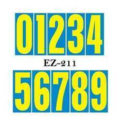 Car Lot Window Number Stickers 9 1/2 Inch Numbers Blue And Yellow 24 Packs