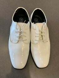 Menand039s White Tuxedo Dress Shoes Faux Patent Leather Classic Formal Oxford Styling