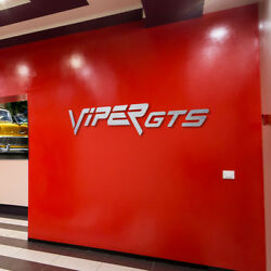 Viper GTS wall decor Letters Sign Garage Brushed Silver Aluminum 8 Feet wide.
