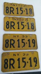 1933 New York Sequential License Plate Sets 2 Sets 4 Plates