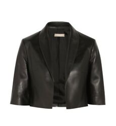 Michael Kors Collection Cropped Black Leather Jacket Size 8  NEW WITH TAGS