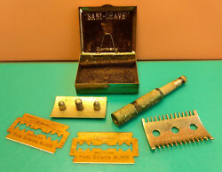 Old Vtg Sani-shave Gillette Thin Blades Razor With Case Made In Germany