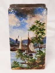 Antique Odell And Booth Brothers American Art Pottery Barbotine Glaze Vase