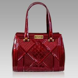 Valentino Orlandi Italian Designer Cherry Red Textured Leather Statement Bag