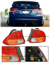 For 06-11 Honda Civic Sedan FD2 JDM Style Clear Red Rear Tail Lights Lamp Amber