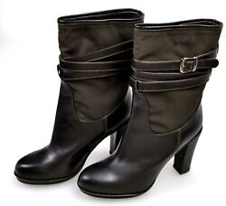 Twin-set Woman High Over Ankle Boots Booties Winter Leather Nylon A1/c/c82120