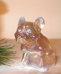 Solid Glass Champaign Carnival French Bulldog Dog Rhinestone Eyes Figurine