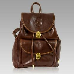 Marino Orlandi Italian Designer Chestnut Leather Oversized Rugged Backpac