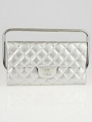 Chanel Silver Quilted Patent Leather Classic Flap Bag Clutch with Handle