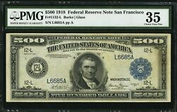 1918 $500 Federal Reserve Note Fr 1132 L Choice VF 35+rare-super scarce district