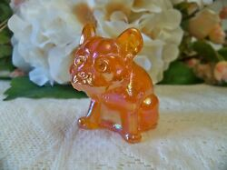Tangerine Carnival French Bulldog Dog Solid Glass  Rhinestone Eyes Figurine