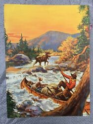 Vintage 1930s Hunter Terrier Dog Rifle in Canoe Moose Philip Goodwin? Print Rare