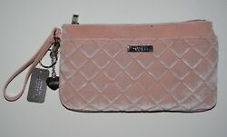 Guess Women's Blush Velvet Quilted Bella Pouch Wristlet wKey Chain