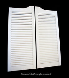 White Cafe Door 28w Pine Louvered Saloon Swinging Pub Bar Western With Hinges