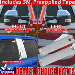 15-18 F150 Ext-cab Chrome Door Handle Covers W/osk+pillar Posts W/kp+mirrors Tow