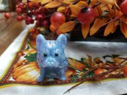 Delphite Blue Carnival Solid Glass French Bulldog Rhinestone Eyes Figurine