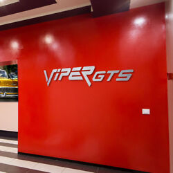 Viper GTS wall decor Letters Sign Garage Brushed Silver Aluminum 6 Feet wide.