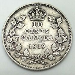 1919 Canada Ten 10 Cents Circulated Silver Dime Canadian Coin D402