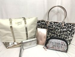 Victoria's Secret Lot of 5 Bags Tote Wallet Makeup Gold New Logo NWT Glitter VS