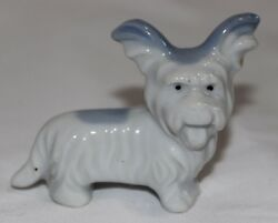 Vintage Porcelain Blue & White Skye Terrier Dog Mini Figurine Signed Japan