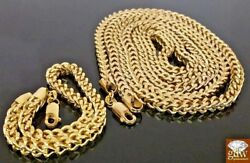 Real 10k Yellow Gold Franco Chain Bracelet Set 30 And Various Length 4mm Unisex