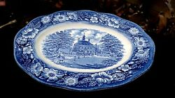 Staffordshire Liberty Blue 12 Oval Platter Governor's House Williamsburg