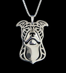 Pit Bull Terrier Silver Charm Pendant Necklace Dog Lover Friend Gift