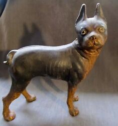 Hubley Cast Iron Boston Terrier Dog Rare Black And Tan Toy 30's