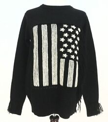 Coach 86294 Usa Flag Sweater Merino Wool Mohair Fringes Leather Lace Small 695